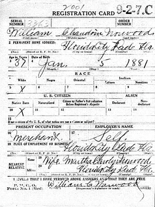 W C Norwood Draft Card