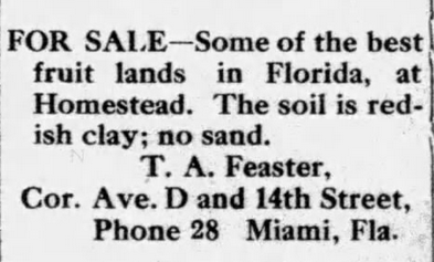 T A Feaster Redland Ad